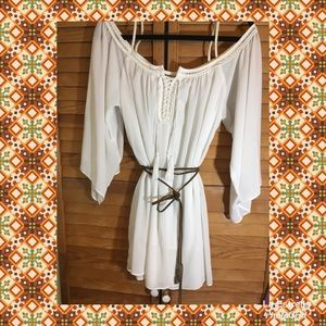 NWT-Woman's White Peasant Dress With Brown Belt